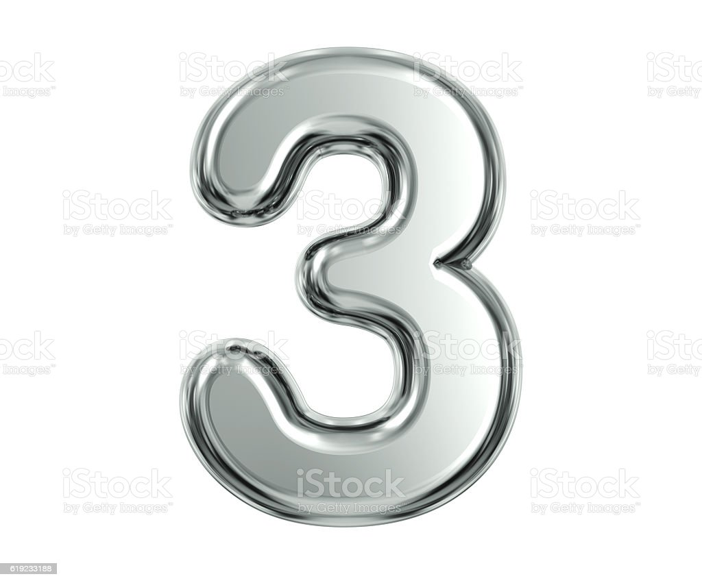 Silver Number 3 stock photo