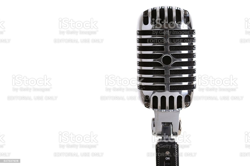Silver old fashioned stage microphone closeup stock photo