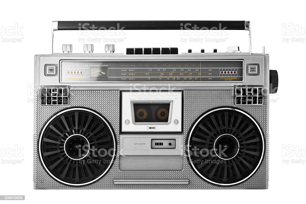 Silver old-school  ghetto blaster or boombox with clipping path stock photo