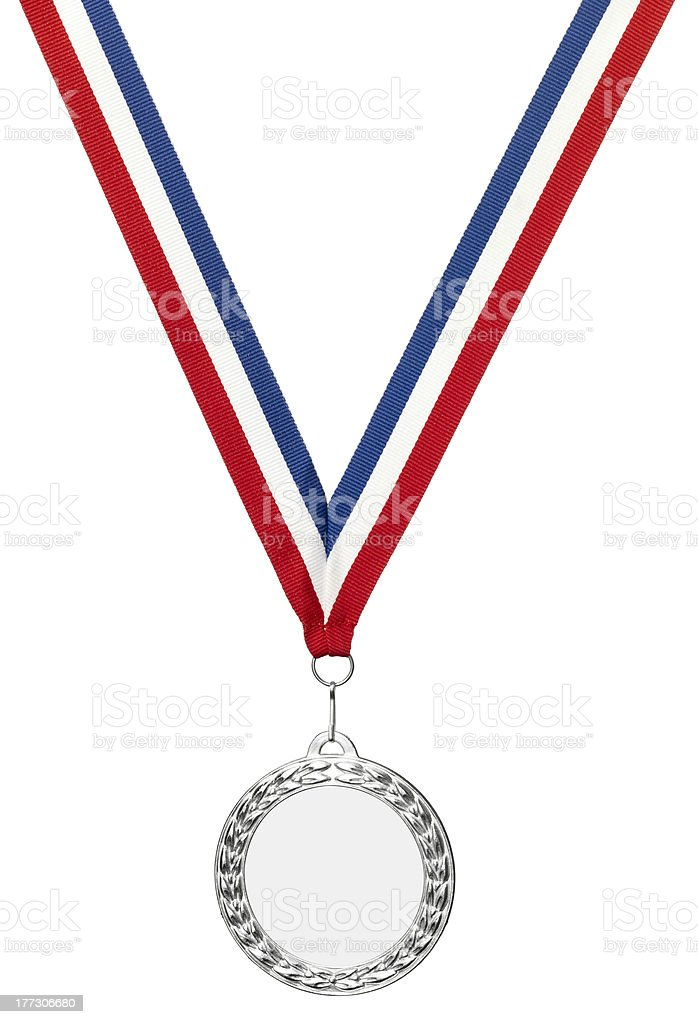 Silver olympics medal blank with clipping path royalty-free stock photo