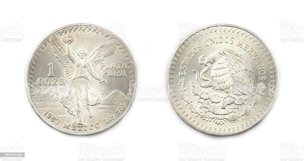 Silver One Ounce Coin stock photo