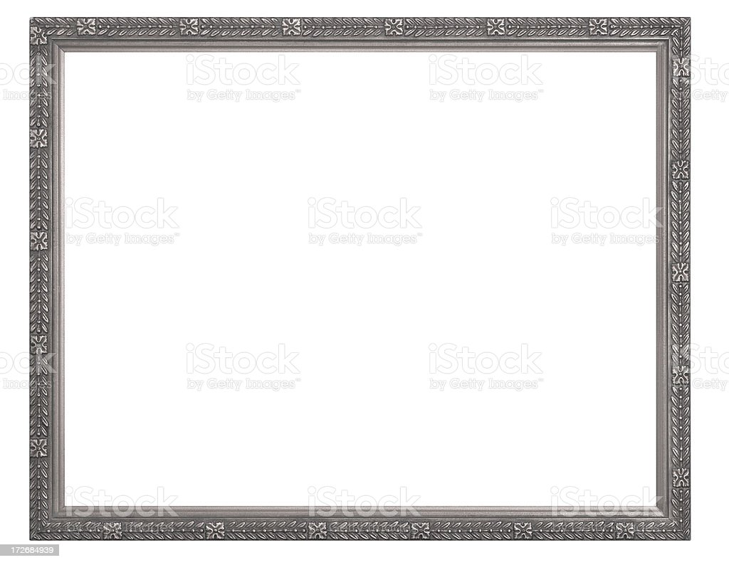 Silver or Pewter Rectangular Picture Frame.  Isolated with Clipping Path stock photo