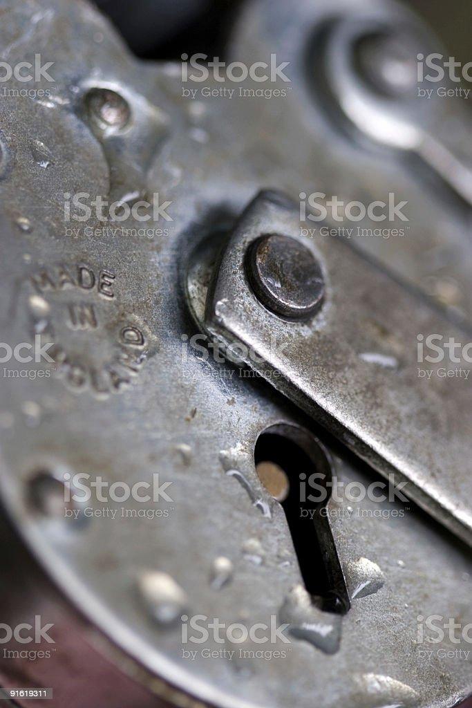 Silver Padlock Close Up royalty-free stock photo