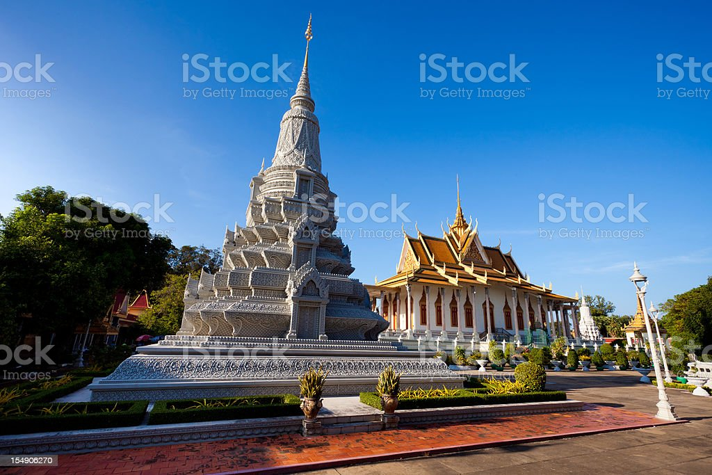 Silver Pagoda and Grand Palace Phnom Penh stock photo