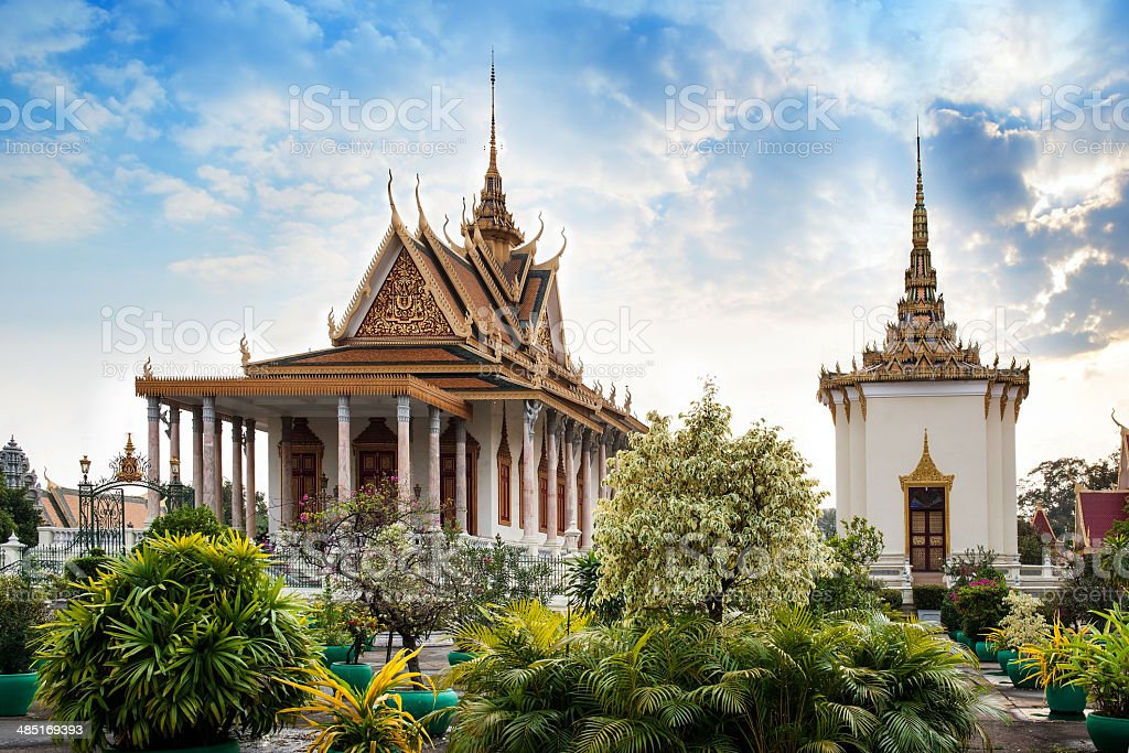 Silver Pagoda, Royal Palace, Phnom Penh, Attractions in Cambodia. stock photo