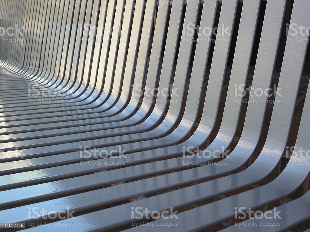 Silver painted bench detail stock photo