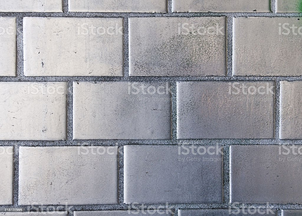 Silver painted brickwall stock photo