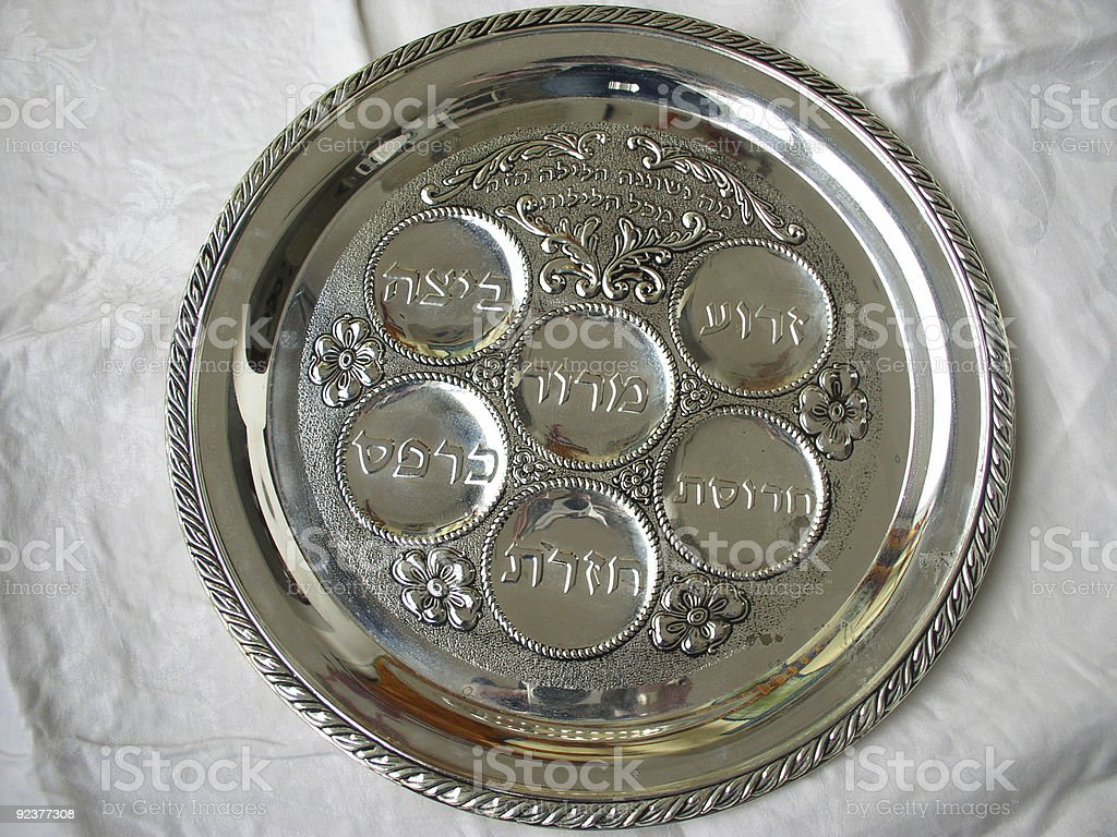 Silver Passover Seder plate stock photo