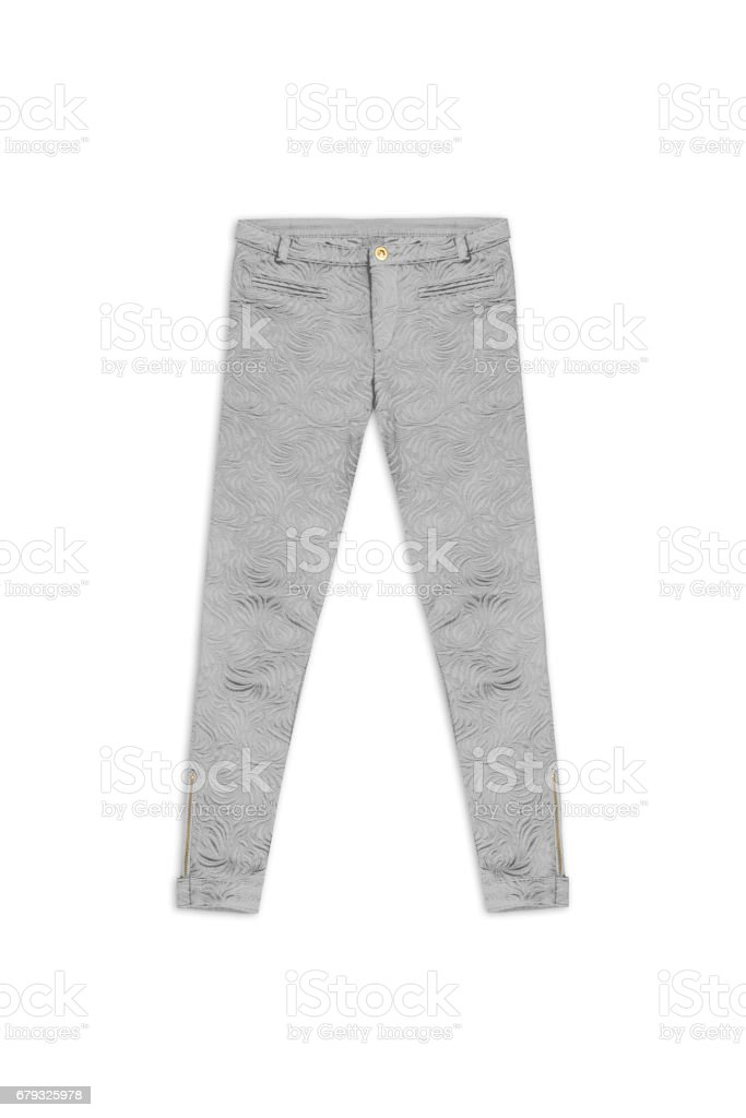 silver pattern jacquard pants, isolated on white background stock photo