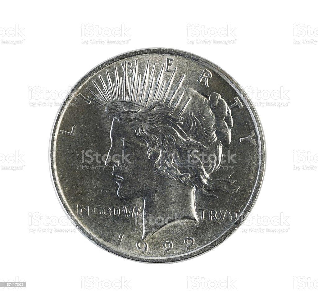 Silver Peace Dollar on White stock photo