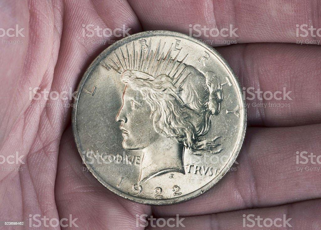 Silver Peace Dollar. stock photo
