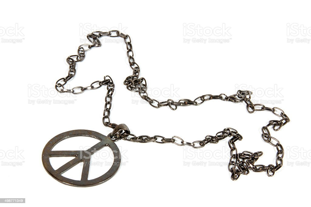 Silver Peace Pendant On Chain From 1960's stock photo