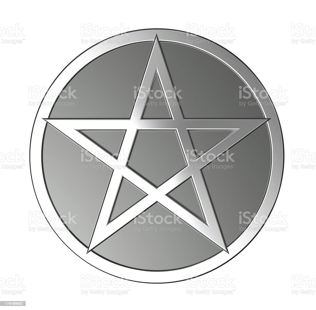 Silver pentagram isolated on white. stock photo
