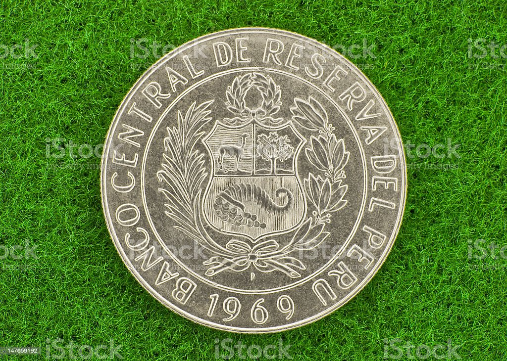 Silver Peruvian Coin stock photo