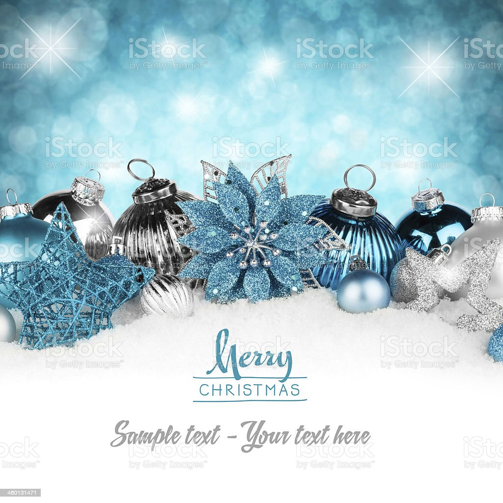 silver petrol christmas card stock photo