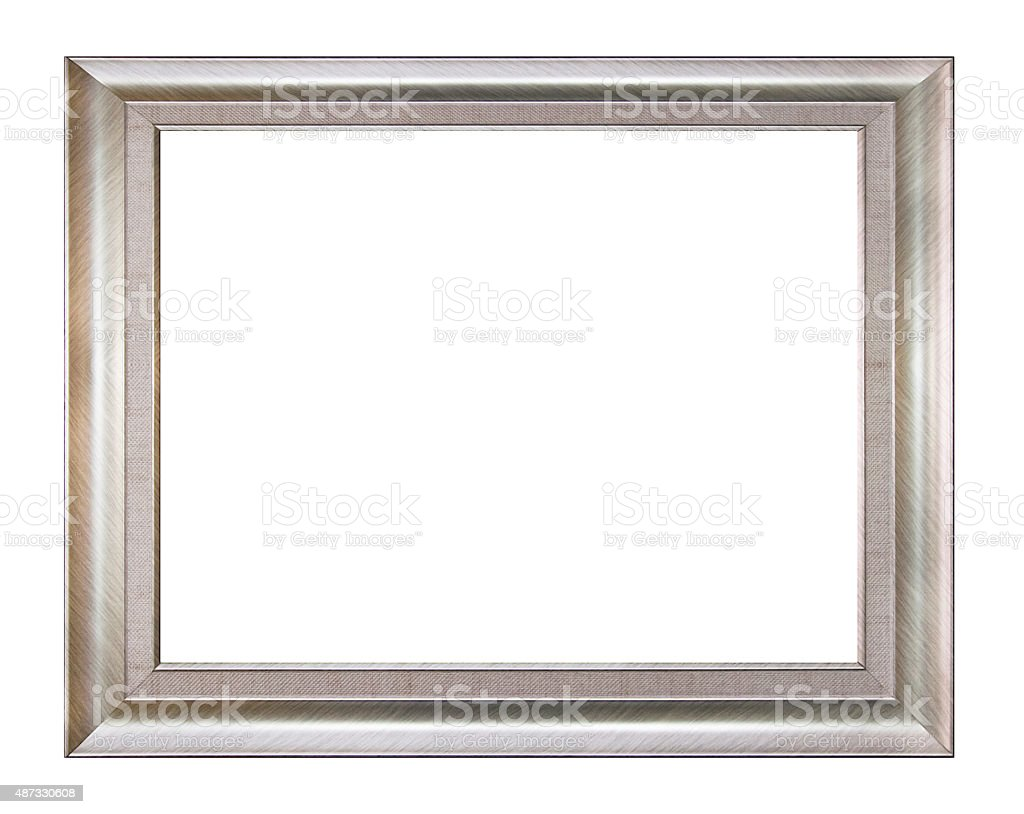 Silver picture frame isolated on white background. stock photo