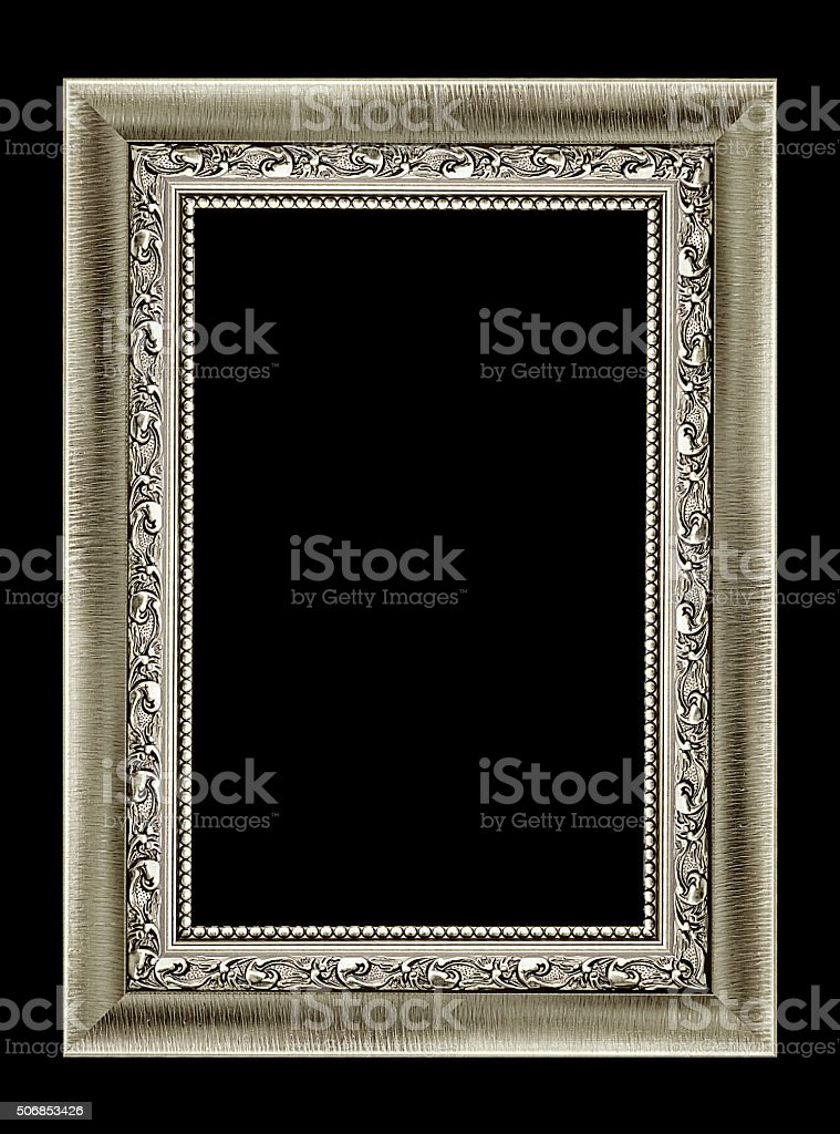 Silver picture frame isolated stock photo