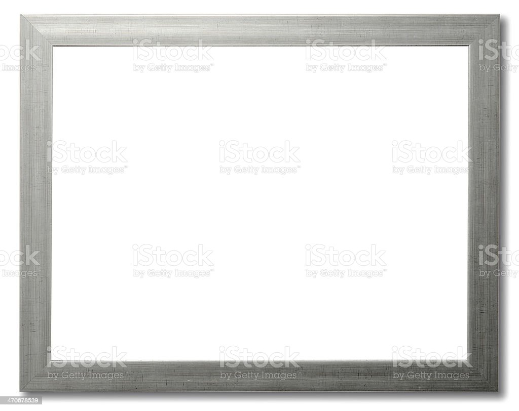 A silver picture frame on a white background stock photo