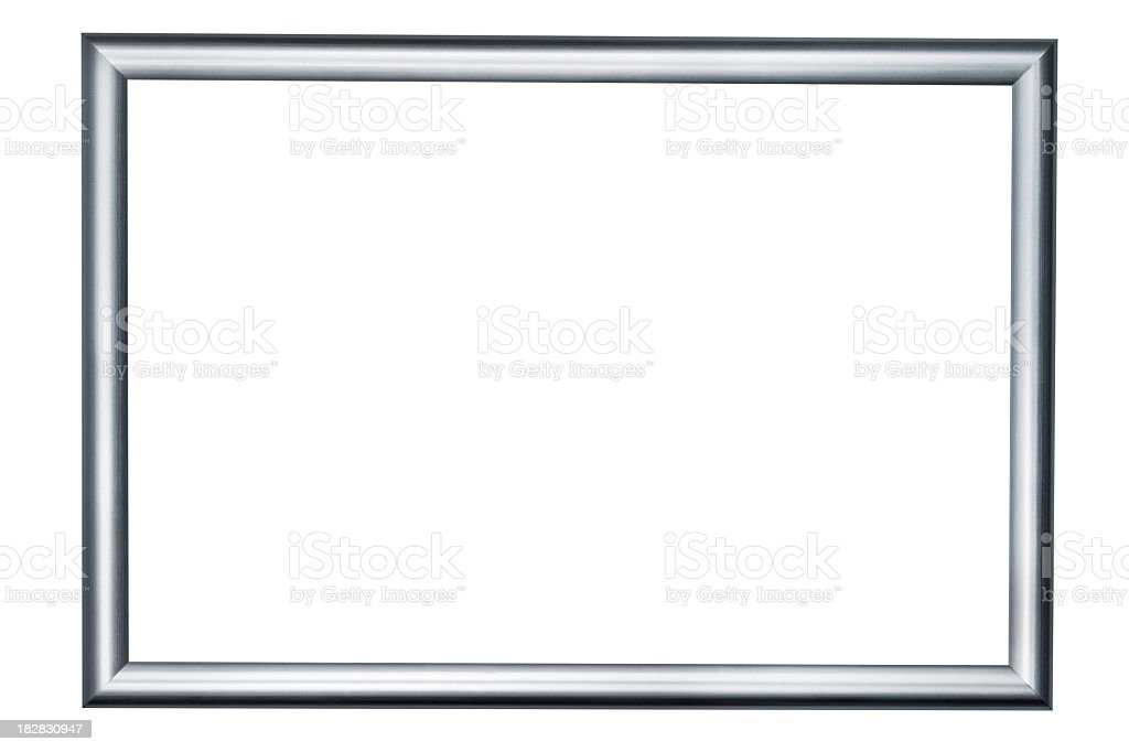 Silver picture frame on white background stock photo