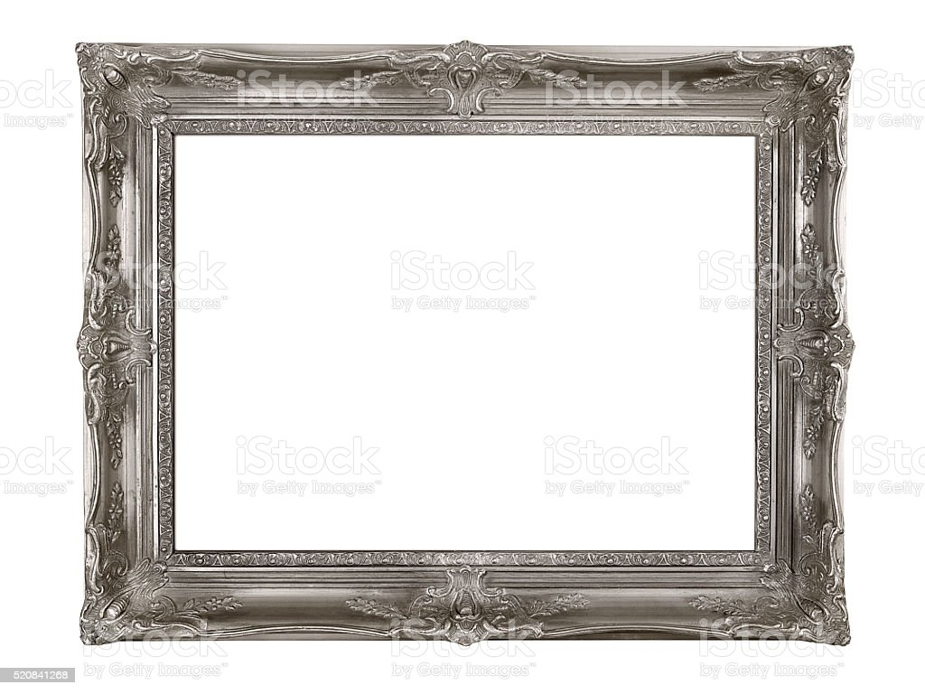 Silver picture frame stock photo