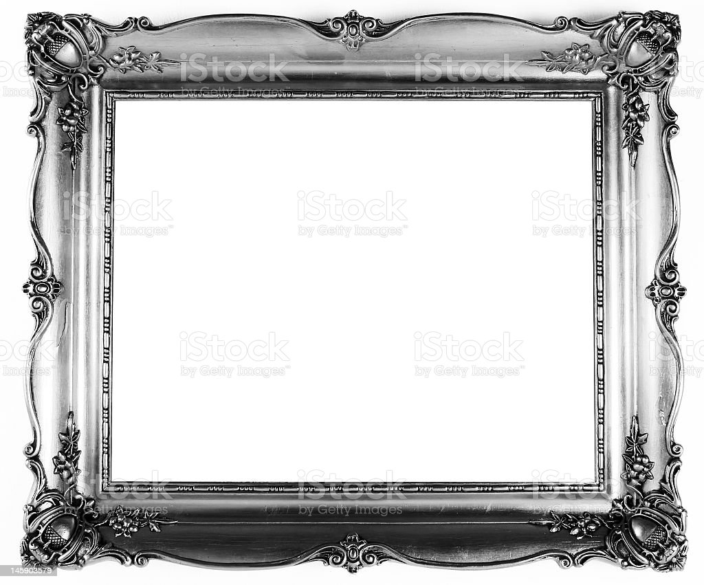 Silver picture frame with fancy trim  stock photo