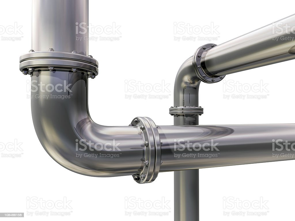 Silver pipelines against white background royalty-free stock photo