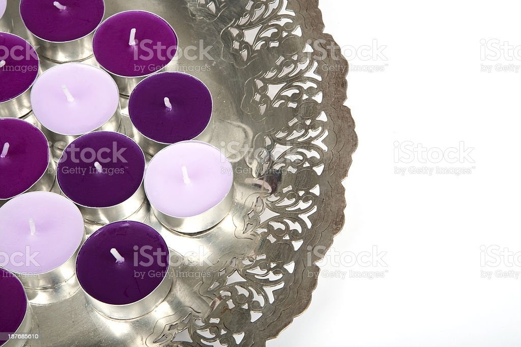 Silver plate with candles stock photo