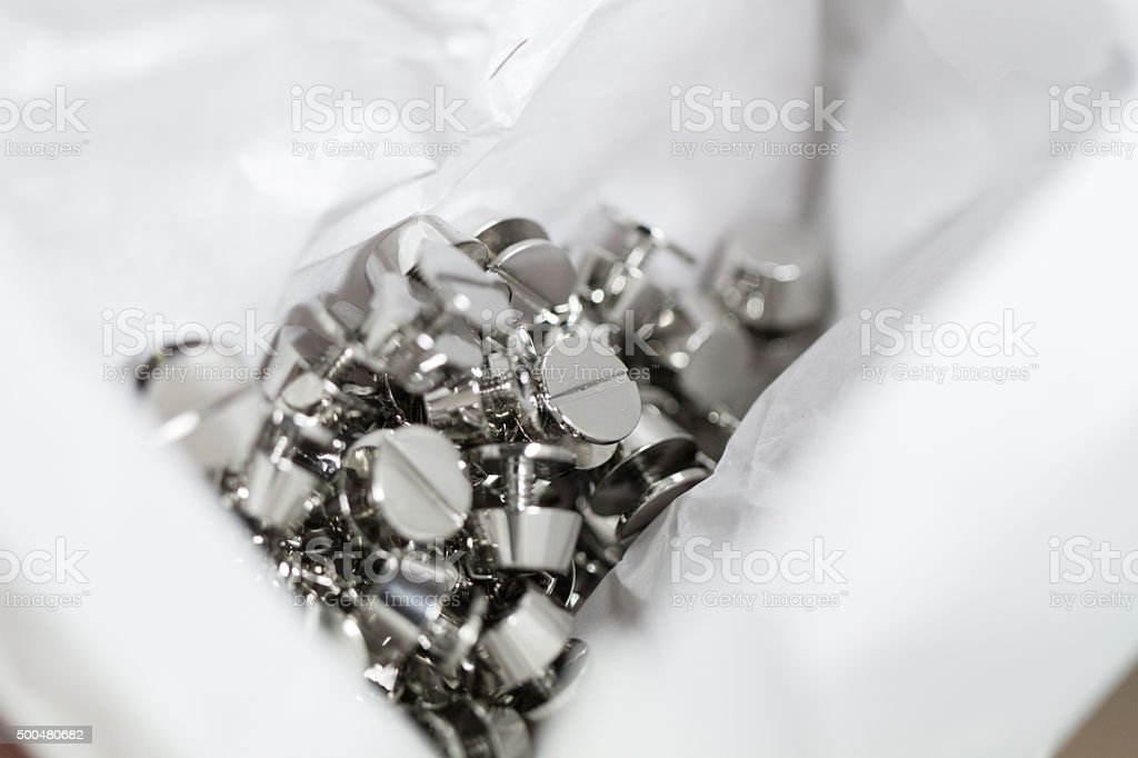 Silver plated hardware stock photo