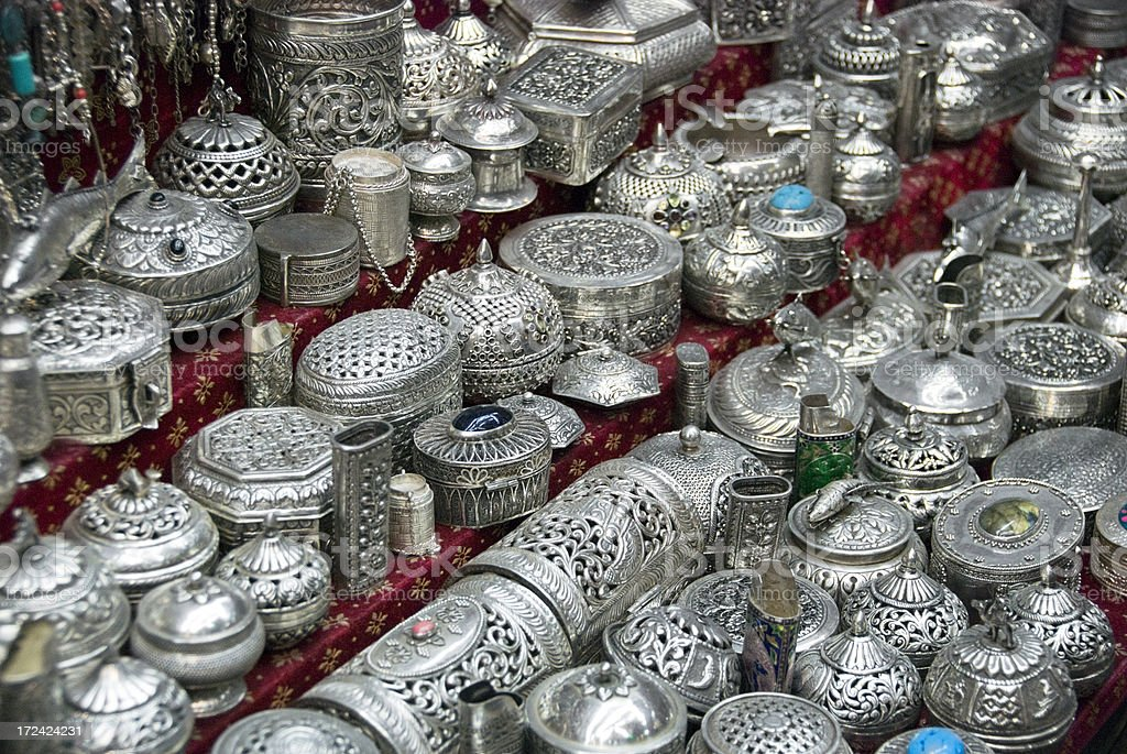 Silver Plated Souvenirs stock photo