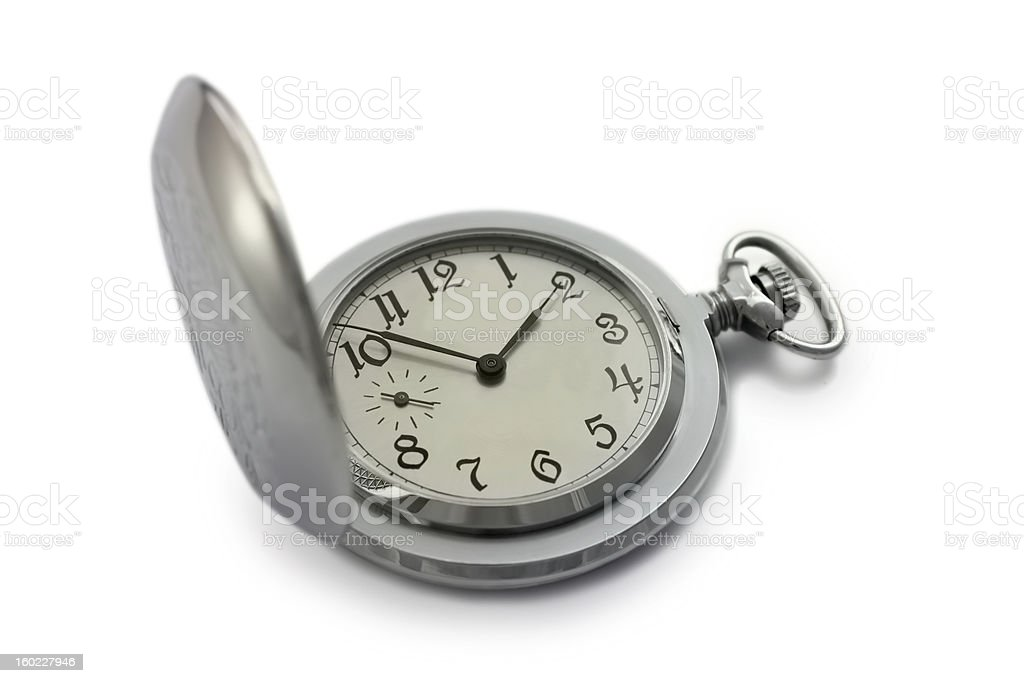 Silver Pocket watch isolated on white background royalty-free stock photo
