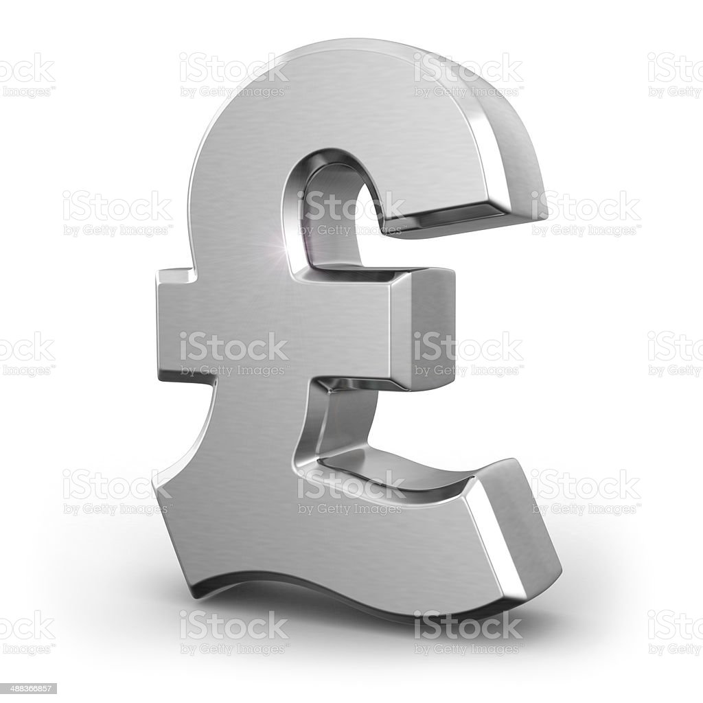 Silver pound currency sign stock photo
