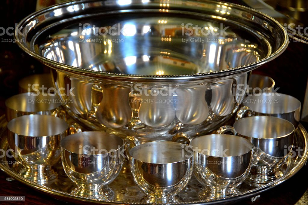 Silver Punch Bowl stock photo