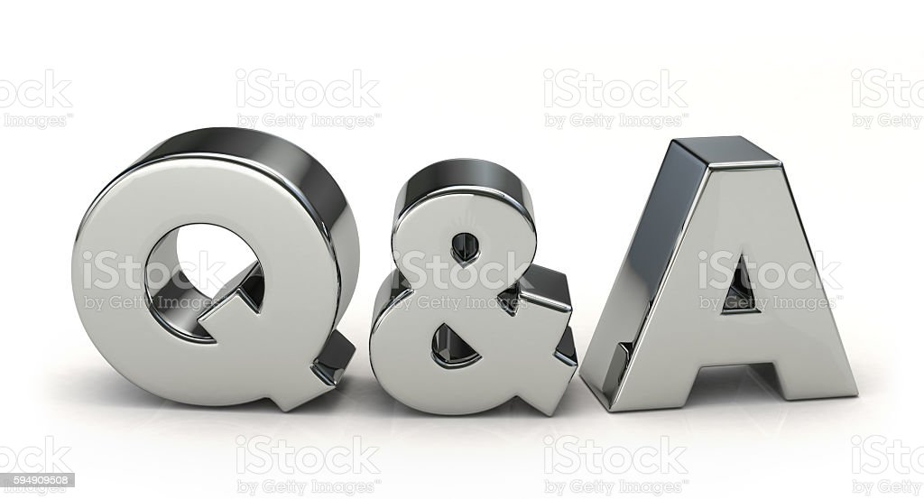 silver Q&A. 3D illustration stock photo