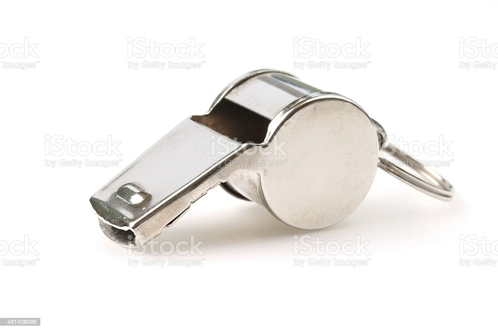 Silver referee whistle stock photo