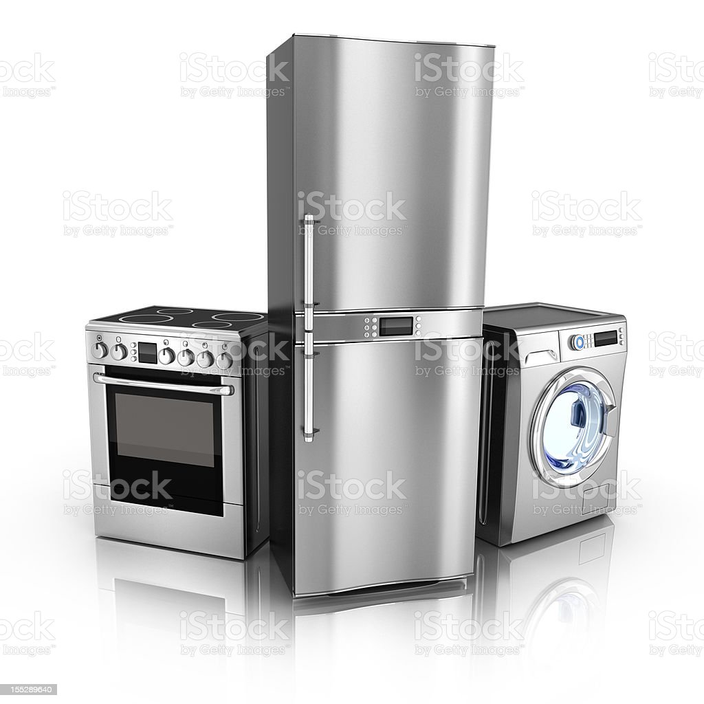 Silver Refrigerator and oven and washing machine stock photo