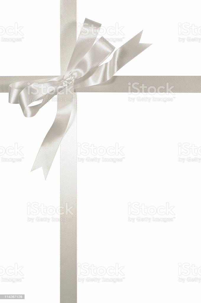 Silver ribbon and bow royalty-free stock photo