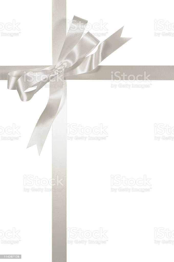 Silver ribbon and bow stock photo