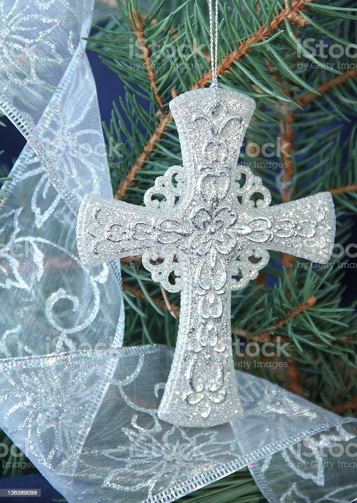 Silver Ribbon and Celtic Cross royalty-free stock photo
