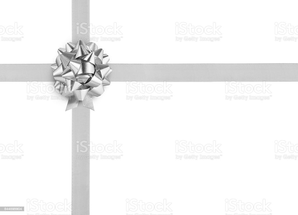 Silver ribbon bow on white background stock photo