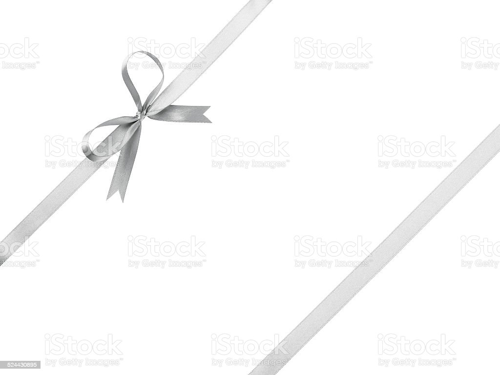 silver ribbon with bow for packaging stock photo
