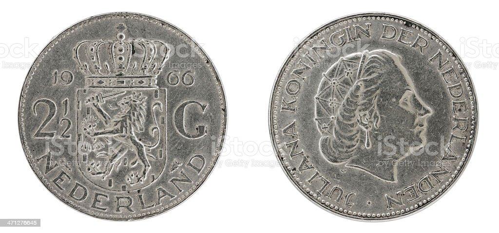 Silver Rijksdaalder on white stock photo