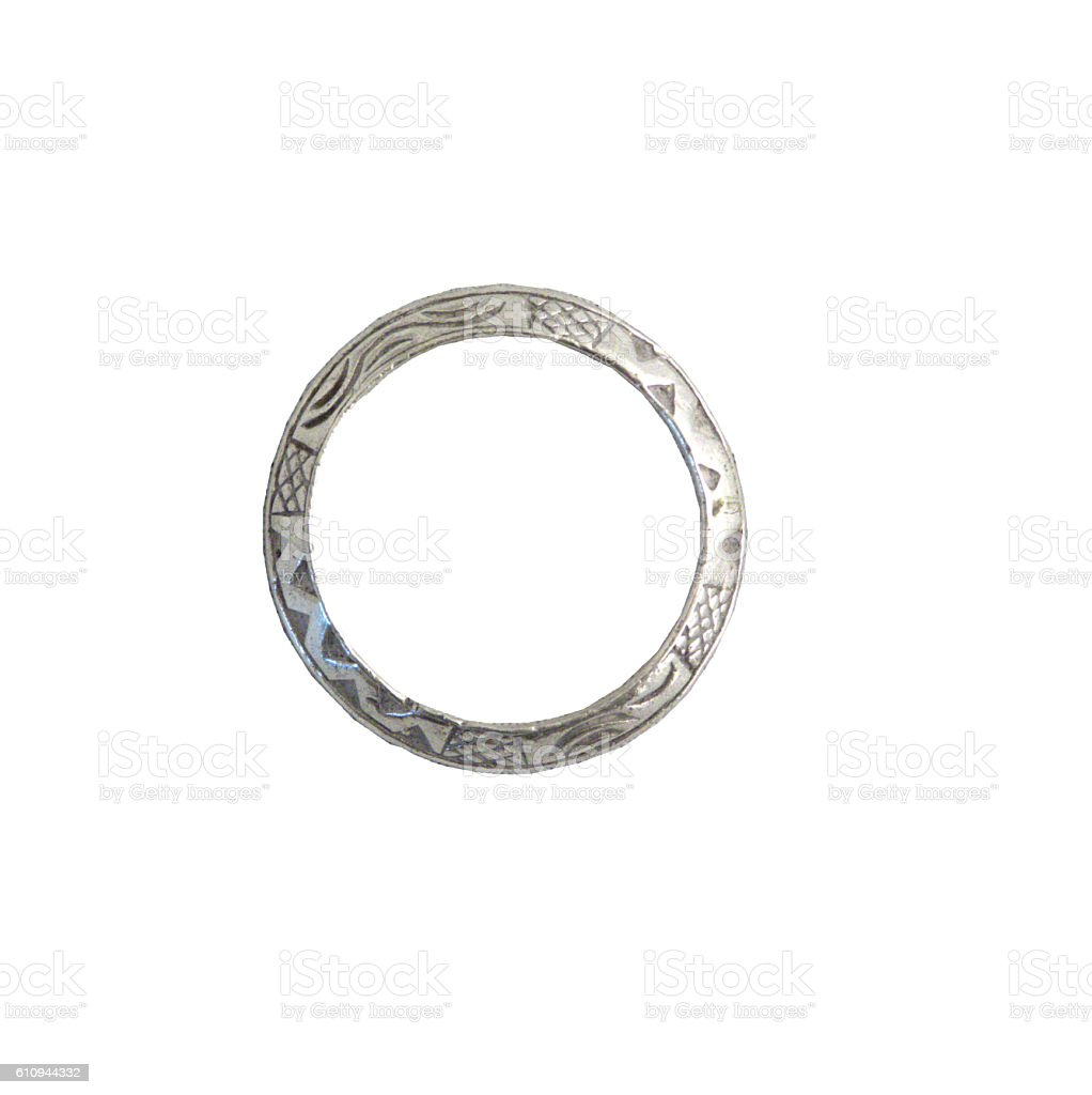 Silver ring, isolated stock photo