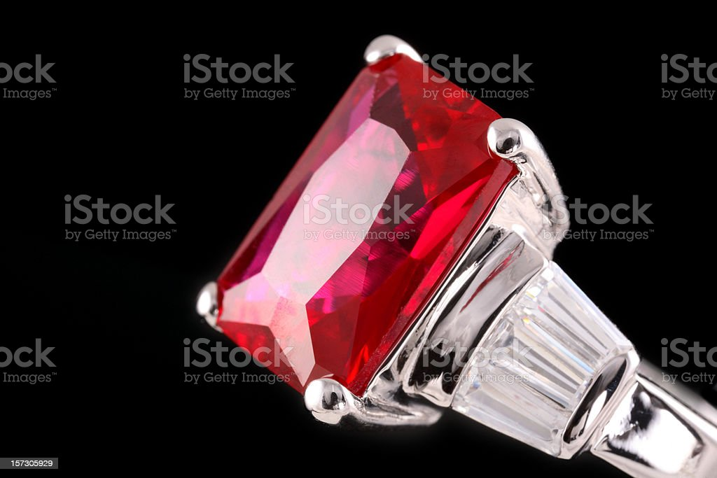 A silver ring with a huge ruby stock photo