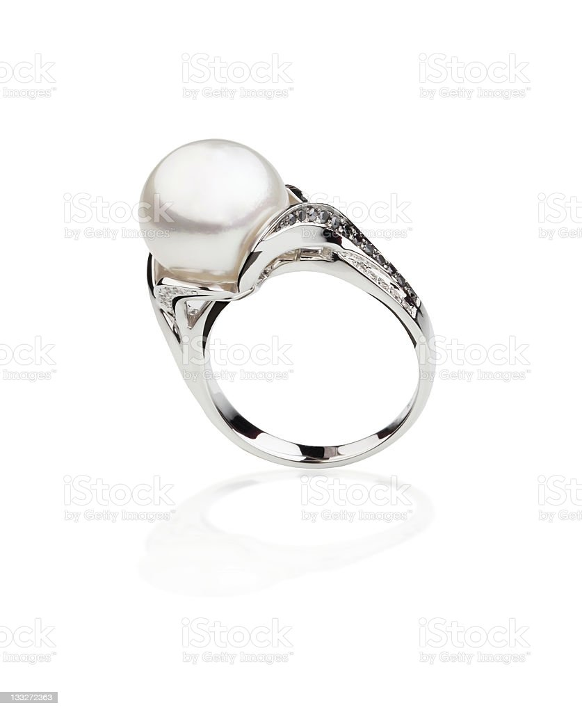 Silver ring with a pearl stock photo