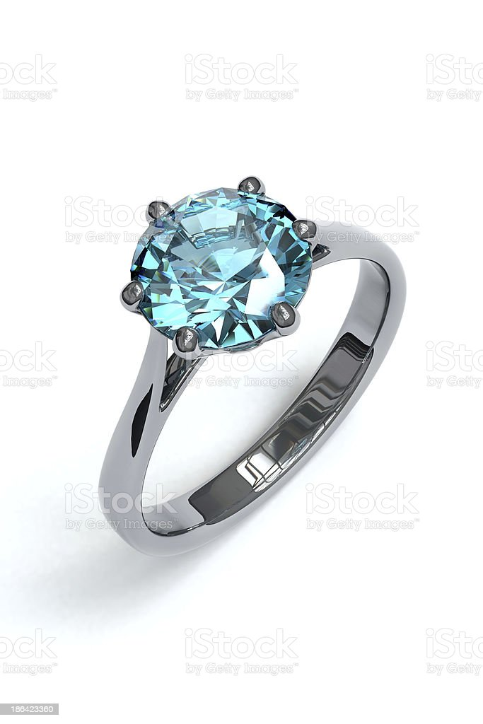 Silver ring with gemstone stock photo