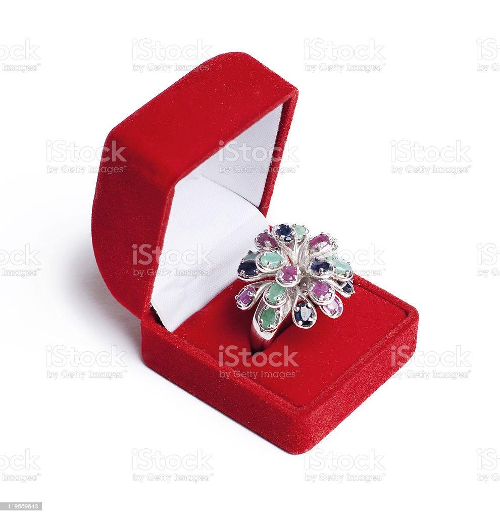 Anillo de plata con gemstones foto de stock libre de derechos
