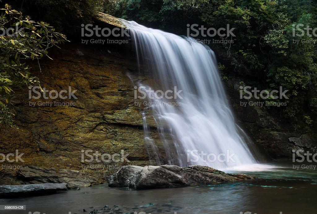 Silver Run falls waterfall near Cashiers NC stock photo