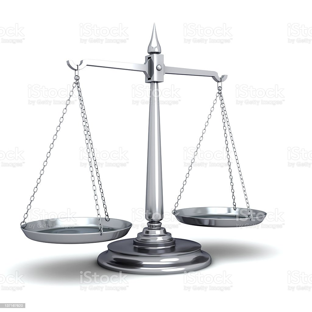 Silver scales of justice, empty stock photo