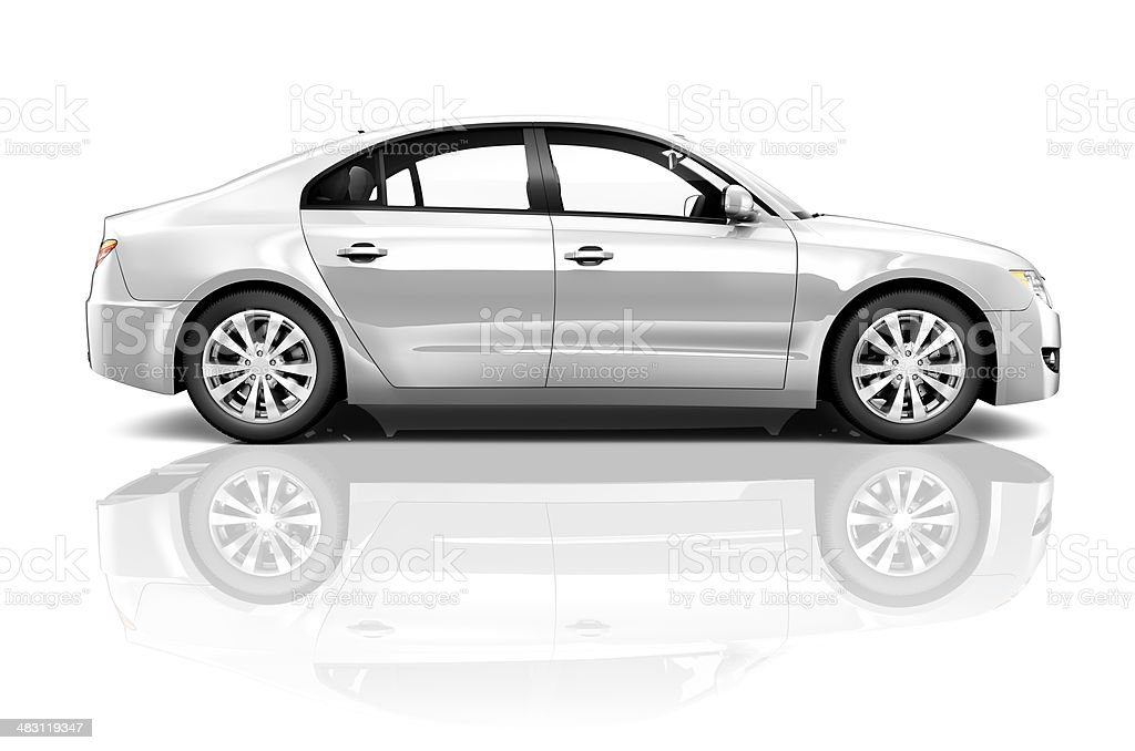 3D Silver Sedan Car on White Background stock photo