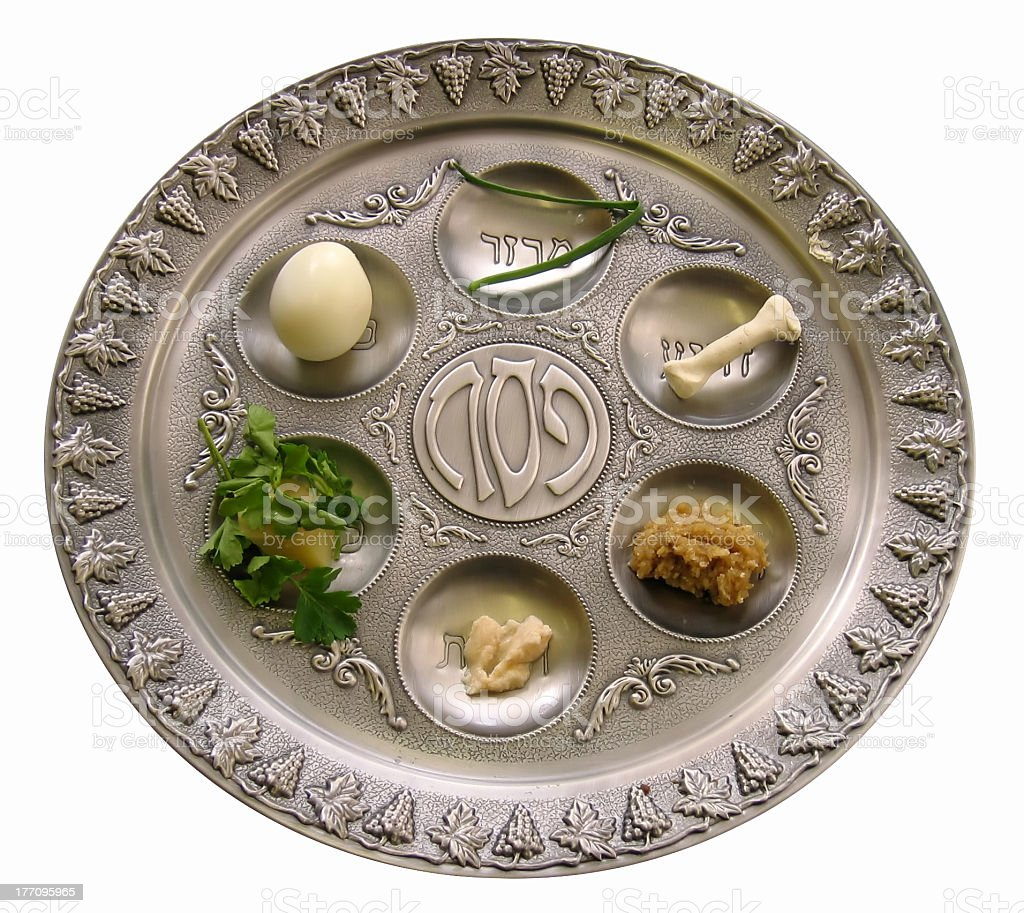 Silver Sedar plate with foods for the Passover celebration stock photo